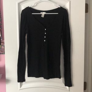 💖H & M Long Sleeve Black Button Front V-Neck💖